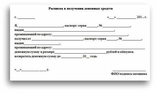 Расписка о получении денежных средств: образец
