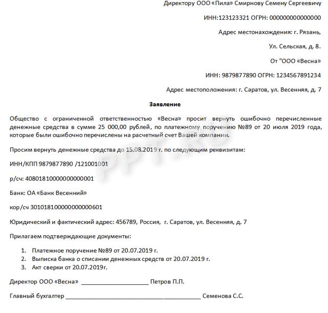 Письмо о возврате денежных средств: образец и примеры составления