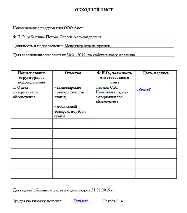 Обходной лист при увольнении: нужно ли подписывать, образец заполнения